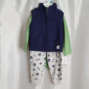 Baby Boy 24M. 3pc Set. Vest, Onsie, & Long Pants.